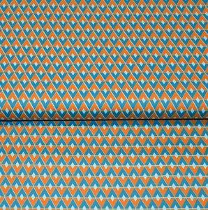 Cotton Satin Spandex - Diamonds petrol/orange